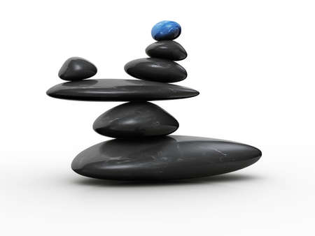 balance concept: Blue stone sitting in balance on other black stones - 3d render Stock Photo