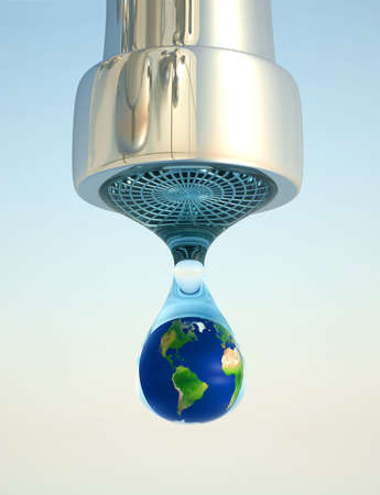 Earth globe in last drop of environment resources - 3d render photo