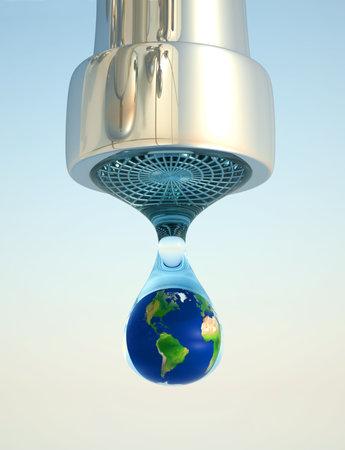 ahorrar agua: Globo de tierra en la �ltima gota de procesamiento de medio ambiente recursos - 3d