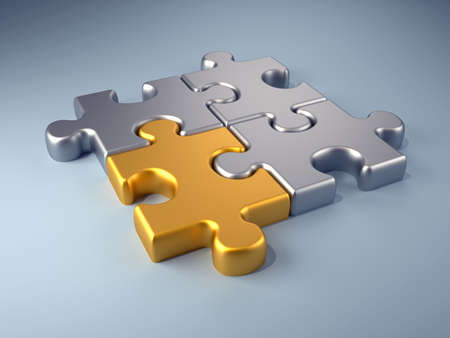 splice: Golden jigsaw piece connected in puzzle structure - 3d render