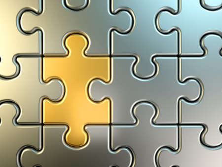 Golden jigsaw piece connected in puzzle structure - 3d render photo