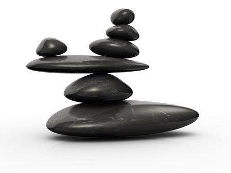 exactness: Structure of stones arranged in balance - 3d render