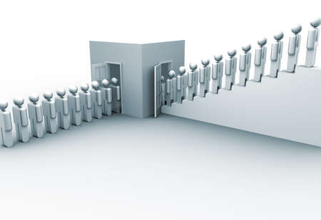 unskilled: Icon people entering and leaving training center - 3d render