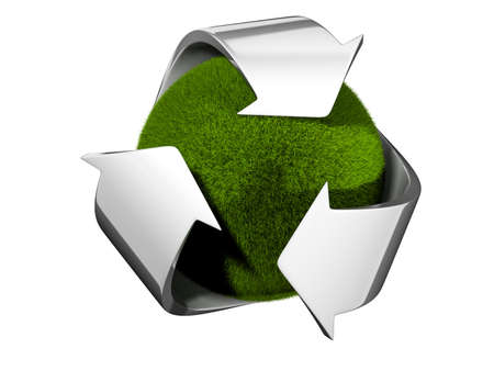 Recycle symbol surrounding a globe covered with grass - 3d render photo