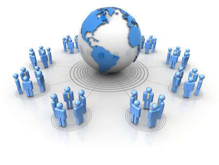 surrounding: Conceptual network of people surrounding Earth globe