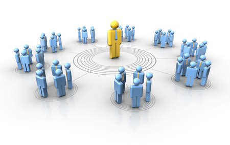 surrounding: Conceptual network of people with a leader in center Stock Photo