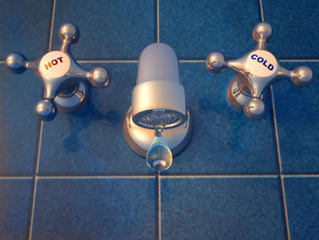 plumb: Illustration of a dripping faucet - rendered in 3d Stock Photo