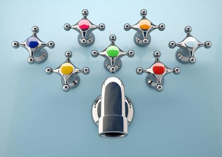diversification: Conceptual image of seven faucet tap with different colors - 3d render
