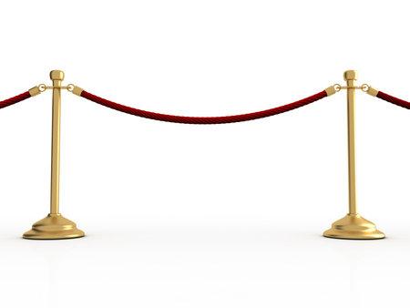 Golden velvet rope barrier over white - 3d render Stock Photo - 5863285