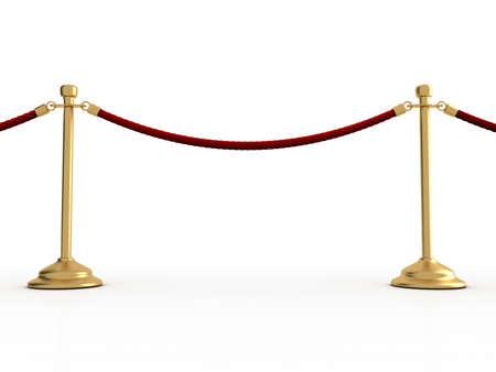 barrier: Golden velvet rope barrier over white - 3d render