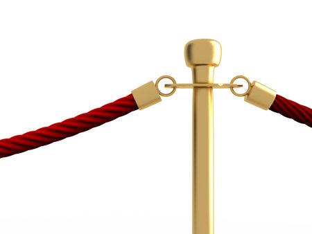 velvet rope barrier: Closeup detail of velvet rope barrier over white - 3d render