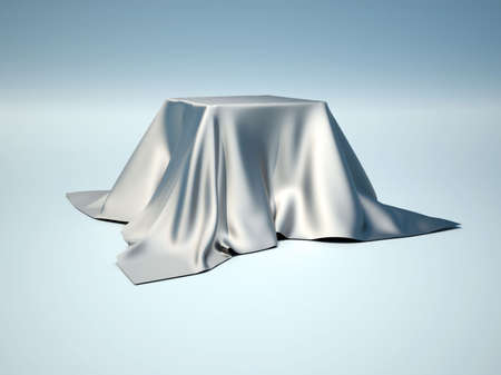 table cloth: A box covered with a table cloth - 3d render