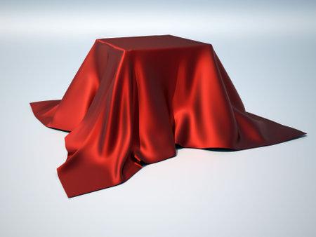 silk cloth: Una casella � ricoperta da una tabella di panno - 3d rendering Archivio Fotografico