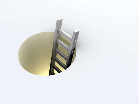 way out: Illustration of a ladder leading down a tunnel - 3d render