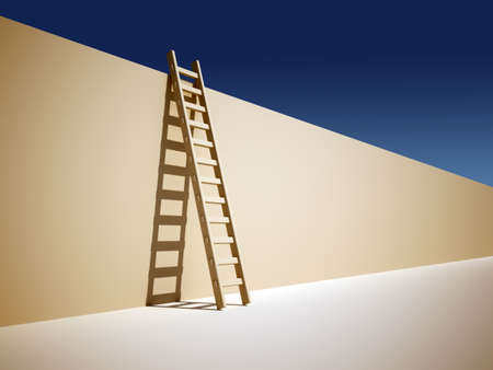 way out: Illustration of a ladder leaning against the wall - 3d render