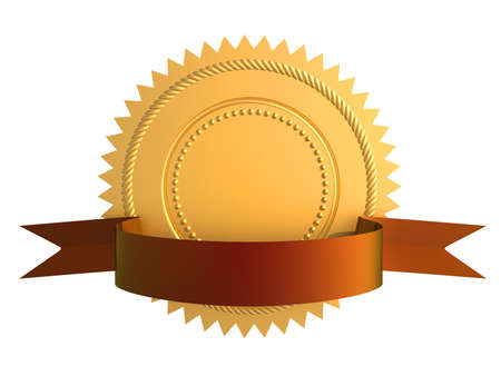 Golden guarantee medal with blue bow isolated on white photo