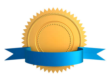 assurance: Golden guarantee medal with blue bow isolated on white Stock Photo