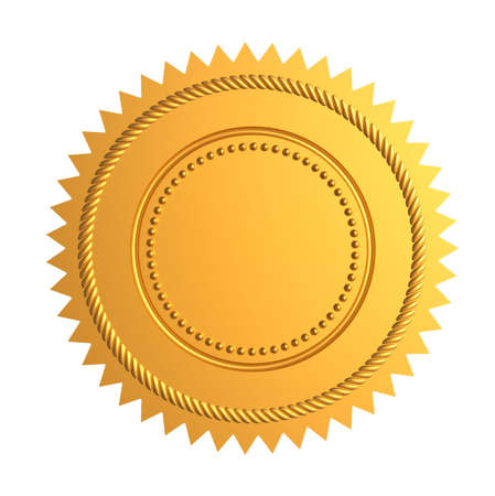 medallion: Golden guarantee seal isolated on white - 3d render Stock Photo