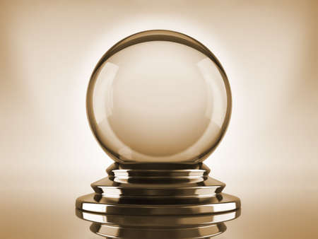Magic crystal ball on blue background - 3d render photo