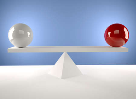 balance concept: A white and a red sphere sitting in balance - 3d render