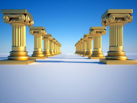 Golden roman columns on clear blue sky - 3d render photo
