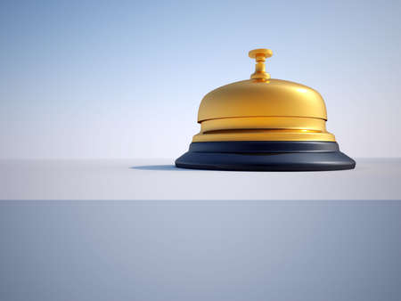 Close up of ringing reception bell - 3d render photo
