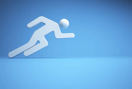 runing: Icon of ahtlete runing over blue background - 3d render
