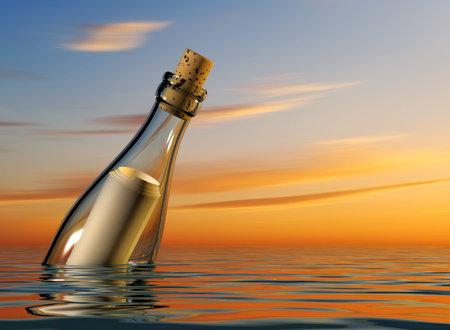 Fles met lege papier in zwevende op zee - 3d plaatsing