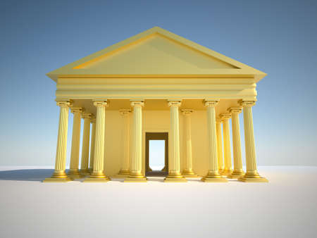 Front view of golden Greek building with ionic style columns - 3d render photo