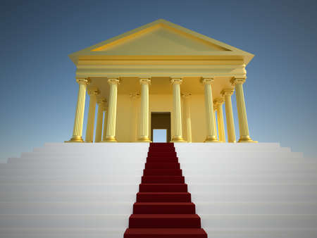 Golden roman building with ionic syle columns and a red carpet - 3d render photo