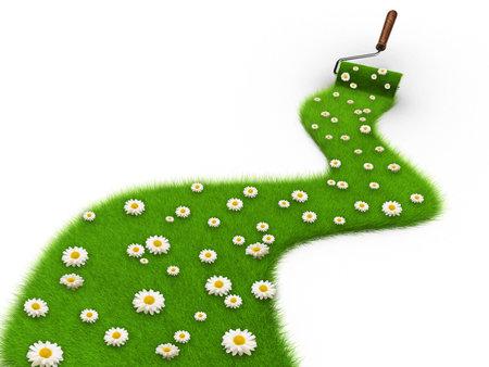 Verf roller een pad tekenen bedekt met gras en daisy bloemen 3d - render en vier kleuren druk Stockfoto