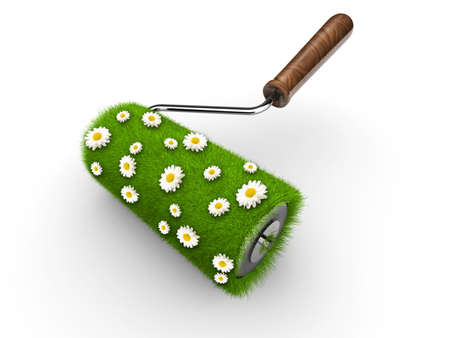Paint roller covered with grass and daisy flowers  photo