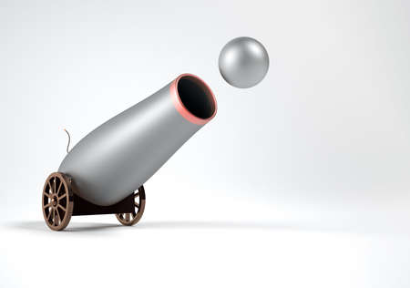 Conceptual old cannon shooting with ball - 3d render