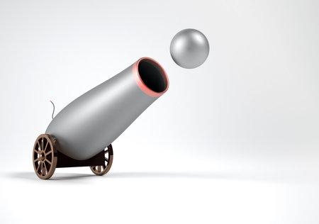 Conceptual viejo cañón tiroteo con procesamiento de pelota - 3d