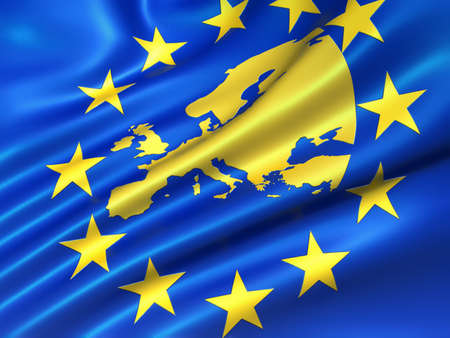 European Union flag with europe map  - 3d render photo