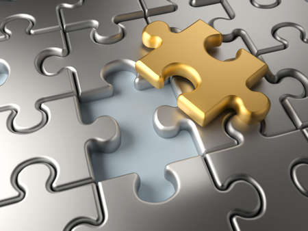 missing link: Metallic jigsaw puzzle with an outstending golden piece - 3d render