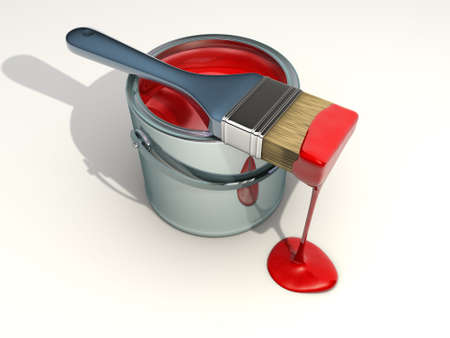 redecorate: Illustration of paint can and paintbrush - 3d render Stock Photo