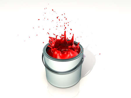Red paint splashing in paint can - 3d render photo