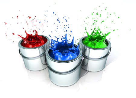 decorating: Paint splashing in paint cans - 3d render