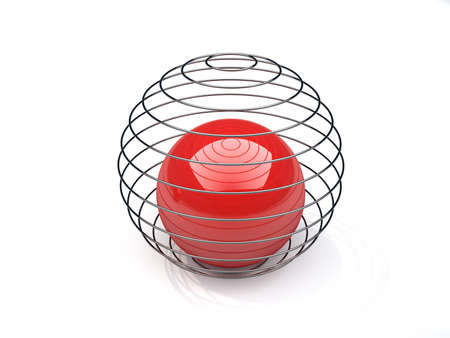 Red sphere closed in a metallic wire network - 3d render Stock Photo - 5862548