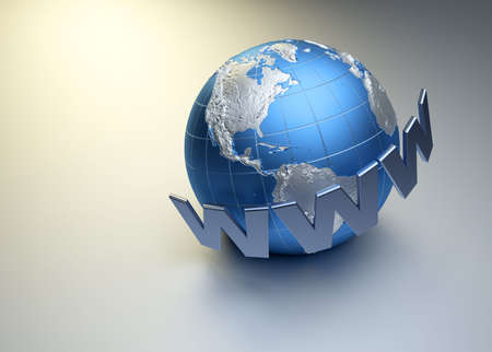 domains: www word surrounding Earth globe - 3d render Stock Photo