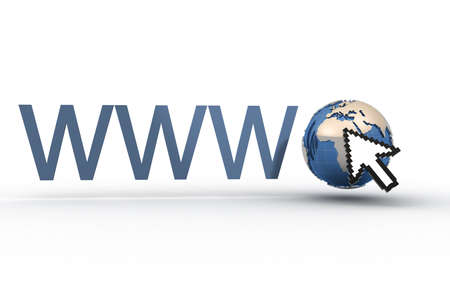 www word and Earth globe instead of point - 3d render photo