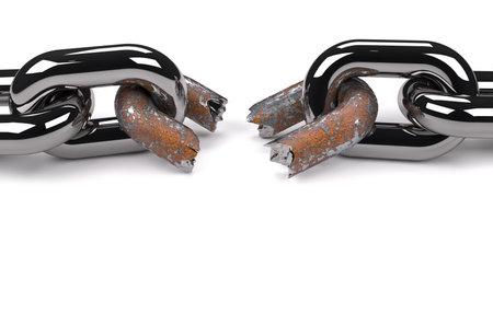 chainlinked: Conceptuele ketting met een roestige gebroken link suggereren weaknesss in een team - 3d render