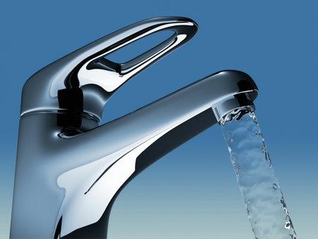 Bathroom faucet flowing water - 3d render illustration illustration