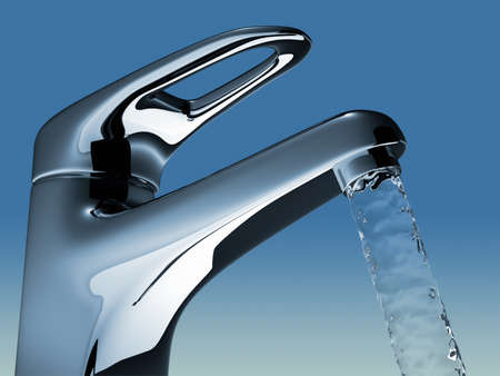 llave de agua: Ilustraci�n de procesamiento - 3d de agua que fluye de ba�o grifo