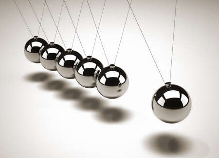 Close up of Newtons cradle - 3d render photo