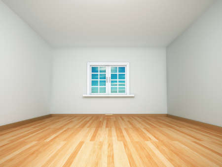 wood flooring: 3d render image of an empty room
