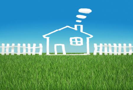 Dream Home: Kindliche Zeichnung einer Haus - 3d Render Illustration