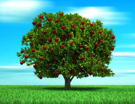 arbol de manzanas: Árbol con frutos de manzana, ilustración de procesamiento - 3d de aspecto surrealista y conceptual  Foto de archivo