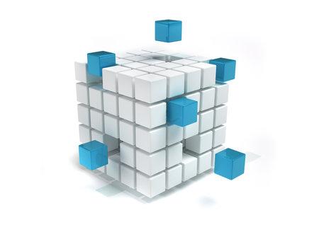 interconnected: Blanco interconectados y azul - 3d procesamiento de cubos